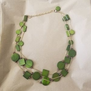 Talbots Green and Gold Bead Necklace